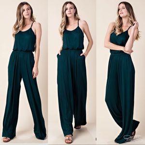 Pants & Jumpsuits - Criss cross back wide leg jumpsuit dress sexy